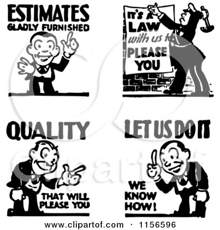 Clipart of Black and White Retro Service and Quality Men - Royalty Free Vector Clipart by BestVector