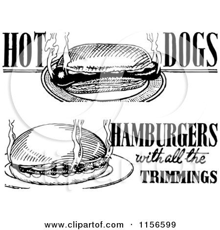 Dogs Black And White Clipart Black And White Retro Hot Dog
