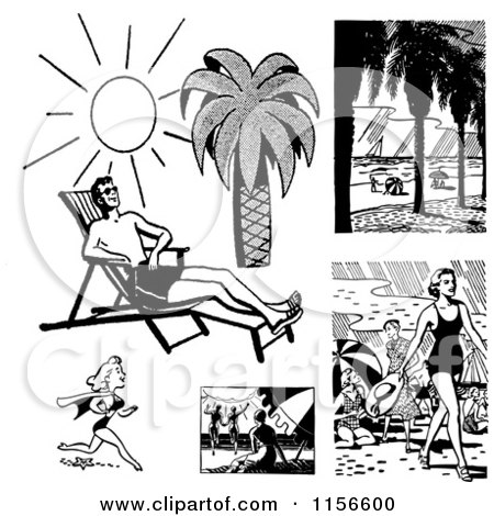 Clipart of Black and White Retro People on Beaches - Royalty Free Vector Clipart by BestVector