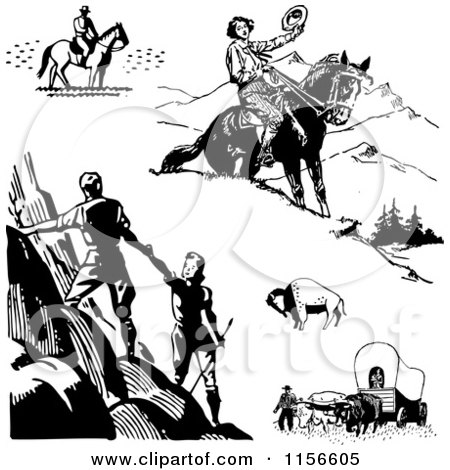 Clipart of Black and White Retro Pioneers Hikers and Horseback Riders - Royalty Free Vector Clipart by BestVector