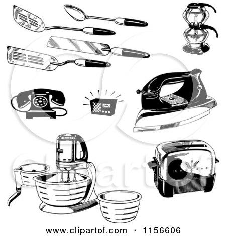Clipart Of A Black And White Retro Stand Mixer Royalty