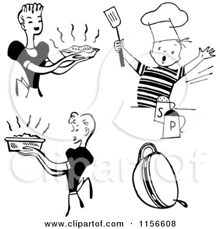 Clipart of Black and White Retro Housewifes and Boy Cooking - Royalty Free Vector Clipart by BestVector
