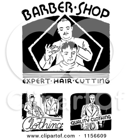 Clipart of Black and White Retro Barber Shop and Clothing Signs - Royalty Free Vector Clipart by BestVector