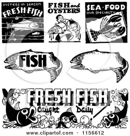 Clipart of Black and White Retro Seafood Signs - Royalty Free Vector Clipart by BestVector