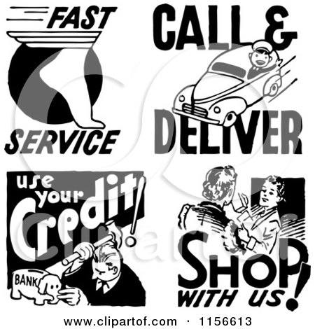 Clipart of Black and White Retro Service People - Royalty Free Vector Clipart by BestVector
