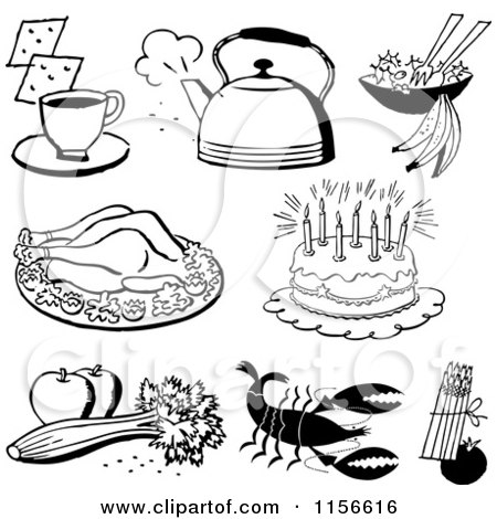 Clipart of Black and White Retro Foods - Royalty Free Vector Clipart by BestVector