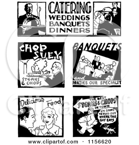 Clipart of Black and White Retro Food Service Signs - Royalty Free Vector Clipart by BestVector