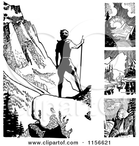 Clipart of Black and White Retro Outdoorsmen and Mountains - Royalty Free Vector Clipart by BestVector