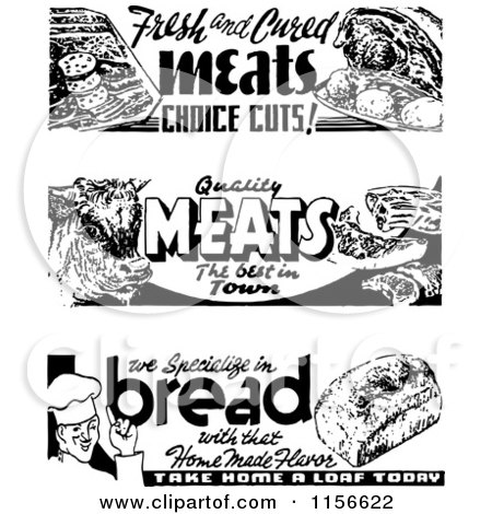 Clipart of Black and White Retro Bread and Meat Grocery Signs - Royalty Free Vector Clipart by BestVector
