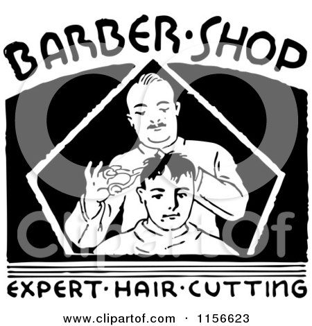 Clipart of a Black and White Retro Barber Shop Sign - Royalty Free Vector Clipart by BestVector