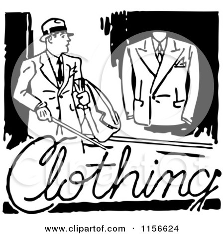Clipart of a Black and White Retro Mens Clothing Sign - Royalty Free Vector Clipart by BestVector