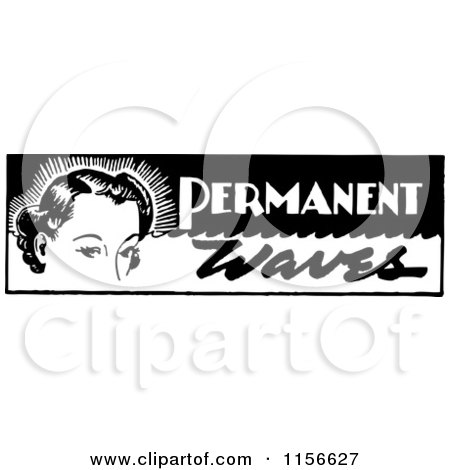 Clipart of a Black and White Retro Woman with Permanent Waves Text - Royalty Free Vector Clipart by BestVector