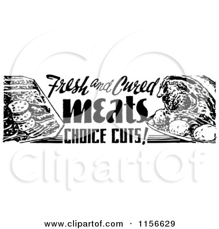 Clipart of a Black and White Retro Meat Grocery Sign - Royalty Free Vector Clipart by BestVector