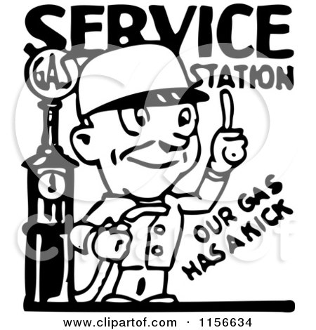 Clipart of a Black and White Retro Service Station Gas Attendant - Royalty Free Vector Clipart by BestVector