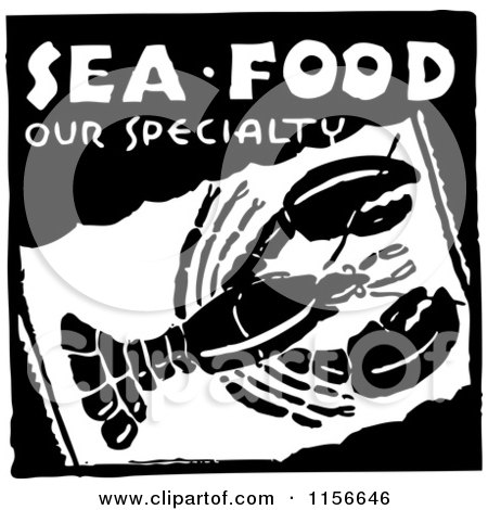 Clipart of a Black and White Retro Sea Food Our Specialty Lobster Sign - Royalty Free Vector Clipart by BestVector