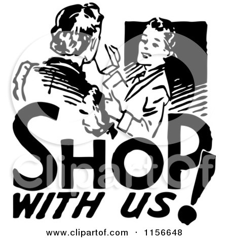 Clipart of a Black and White Retro Shop with Us Woman - Royalty Free Vector Clipart by BestVector