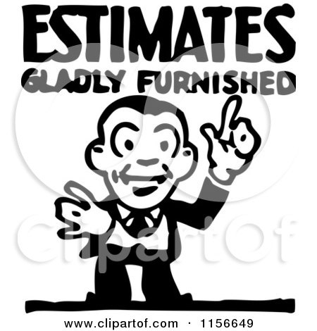 Clipart of a Black and White Retro Estimate Man - Royalty Free Vector Clipart by BestVector