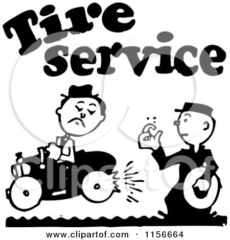 Clipart of a Black and White Retro Tire Service Man - Royalty Free Vector Clipart by BestVector