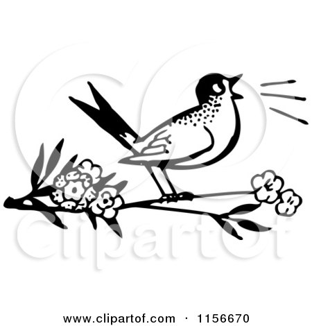Free Bird Clipart Black And White Black And White Retro Bird