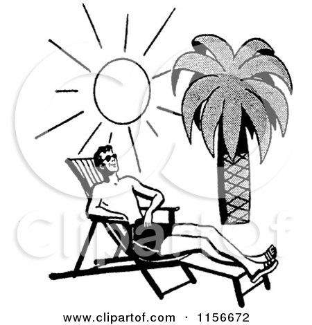 Black And White Retro Man Sun Bathing On A Tropical Beach