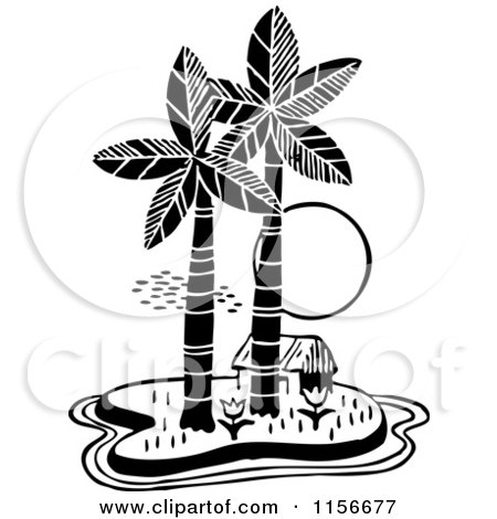 Clipart of a Black and White Retro Hut on a Tropical Island - Royalty Free Vector Clipart by BestVector