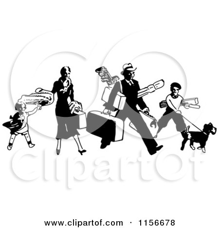 Clipart of a Black and White Retro Traveling Family with Luggage - Royalty Free Vector Clipart by BestVector