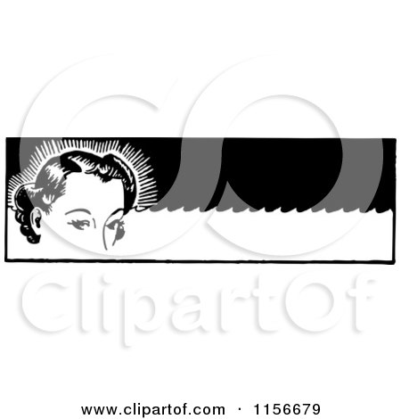 Clipart of a Black and White Retro Woman with Permanent Waves - Royalty Free Vector Clipart by BestVector