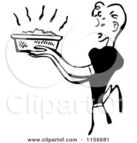 Clipart of a Black and White Retro Housewife Carrying a Fresh Casserole - Royalty Free Vector Clipart by BestVector