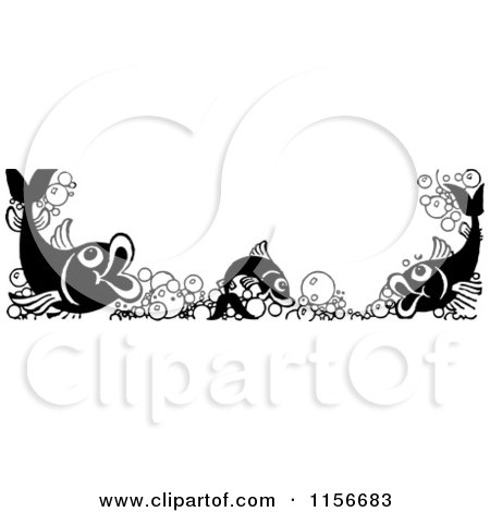 Clipart of a Black and White Retro Fish and Bubble Border - Royalty Free Vector Clipart by BestVector