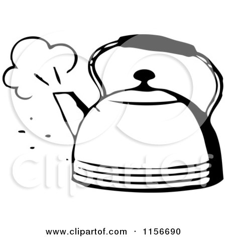 Clipart of a Black and White Retro Steaming Tea Pot - Royalty Free Vector Clipart by BestVector