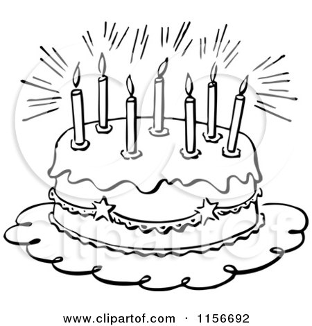 Clipart of a Black and White Retro Birthday Cake and Candles - Royalty ...
