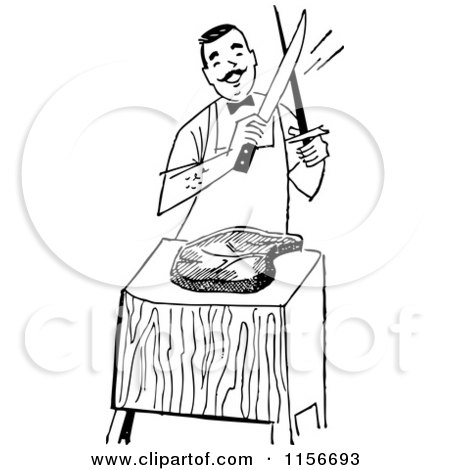 Clipart of a Black and White Retro Male Chef Cutting Meat - Royalty Free Vector Clipart by BestVector