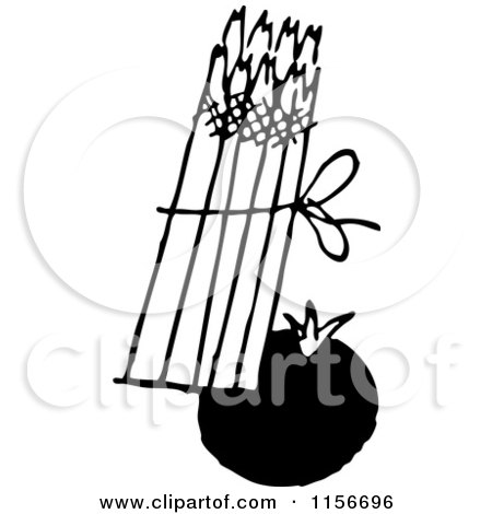 Clipart of a Black and White Retro Tomato and Asparagus - Royalty Free Vector Clipart by BestVector