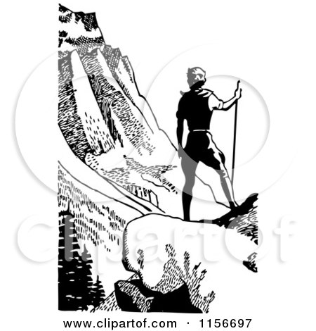 Clipart of a Black and White Retro Male Hiker in Mountains - Royalty Free Vector Clipart by BestVector