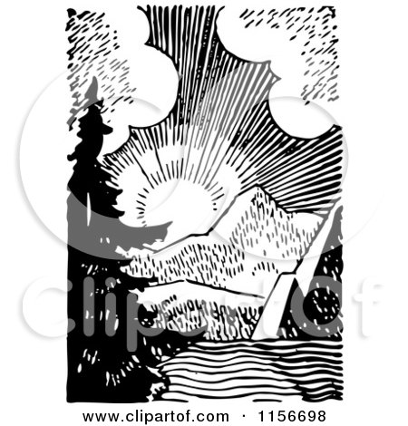 Clipart of a Black and White Retro Sunrise over Mountains - Royalty Free Vector Clipart by BestVector