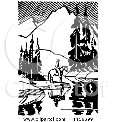 Clipart of a Black and White Retro Horseback Man by a Still Mountainous Stream - Royalty Free Vector Clipart by BestVector