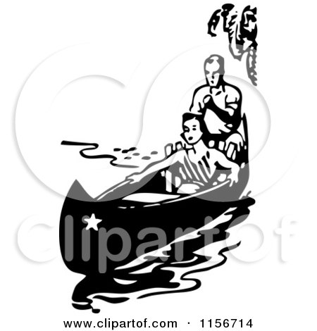 Clipart of a Black and White Retro Couple in a Boat - Royalty Free Vector Clipart by BestVector