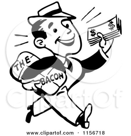 Clipart of a Black and White Retro Man Taking Home the Bacon - Royalty Free Vector Clipart by BestVector
