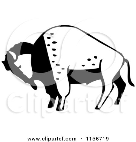 Cartoon Clipart Of A Black And White Romantic Buffalo Presenting a Rose - Vector Outlined ...