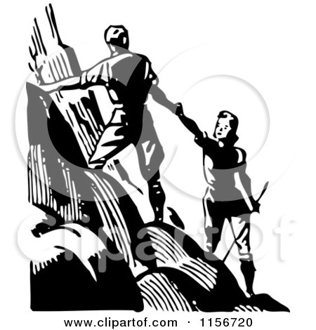 Clipart of a Black and White Retro Couple Hiking up a Mountain - Royalty Free Vector Clipart by BestVector