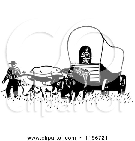 Clipart of a Black and White Retro Pioneer Covered Wagon - Royalty Free Vector Clipart by BestVector