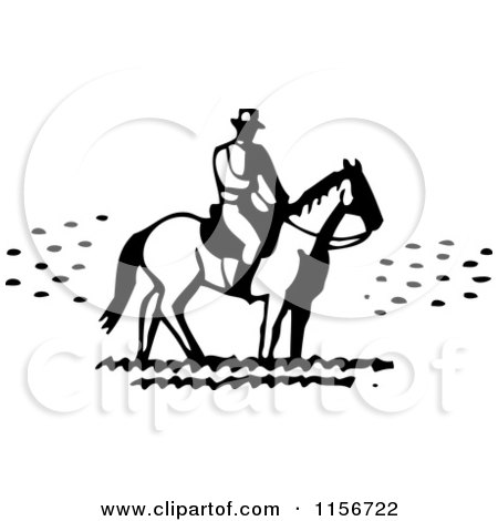 Clipart of a Black and White Retro Man on Horseback - Royalty Free Vector Clipart by BestVector