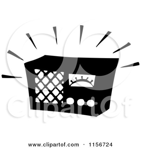 Clipart of a Black and White Retro Blaring Radio - Royalty Free Vector Clipart by BestVector