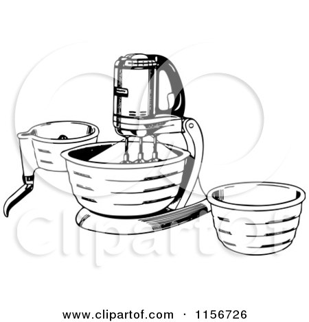 Clipart of a Black and White Retro Stand Mixer - Royalty Free Vector Clipart by BestVector