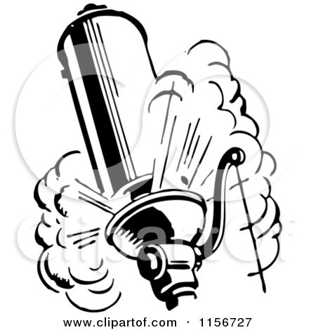 Clipart of a Black and White Retro Steam Whistle - Royalty Free Vector Clipart by BestVector