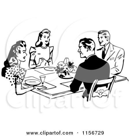 Clipart of Black and White Retro Couples Dining Together - Royalty Free Vector Clipart by BestVector