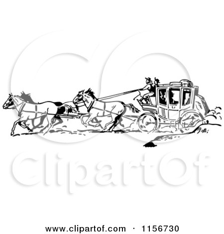Clipart of Black and White Retro Western Cowboys and a Stage Coach 2 - Royalty Free Vector Clipart by BestVector