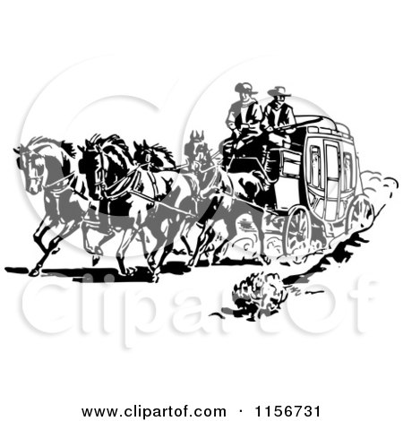 Clipart of Black and White Retro Western Cowboys and a Stage Coach - Royalty Free Vector Clipart by BestVector