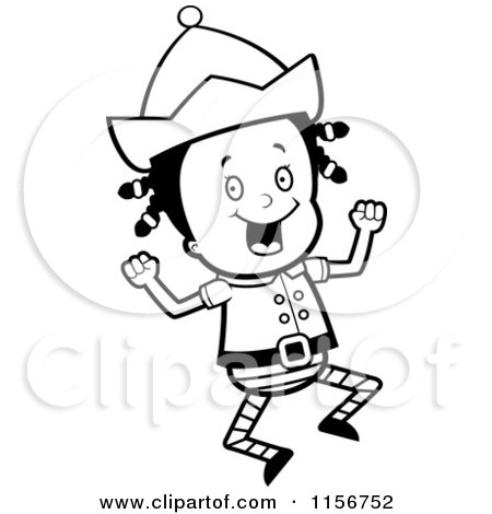 Cartoon Clipart Of A Black And White Christmas Elf Girl Jumping - Vector Outlined Coloring Page by Cory Thoman