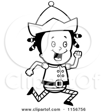 Cartoon Clipart Of A Black And White Little Elf Girl Running - Vector Outlined Coloring Page by Cory Thoman